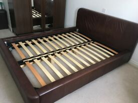 massive wood bed frame, real brown leather, king size in great condition