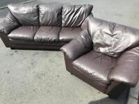 Luxury brown full leather ~ 3 & 1 ~ Sofas Suite