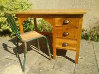 Vintage Mid Century Heavy Oak Single Pedestal Desk Antique Architects Loft Desk