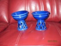 2 Ornamental blue tealight holders