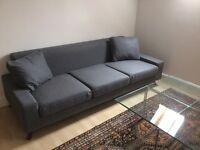 Almost new, 3 seats sofa and Ottoman, model Copenhagen from Blue Sun Tree.