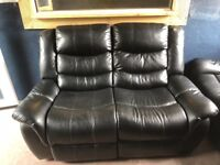 Black leather recliner 3 + 2 seater excellent condition