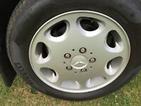 Mercedes-Benz 4 X 8 hole alloy wheels with tyres for sale.