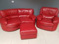 4 Piece Red Leather Suite