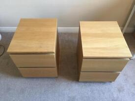 2x Malm oak veneer bedside cabinets