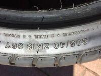 2 X 205/40/ZR18 Tyres