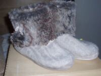 M&Co Love to sleep furry knitted pompom slippers size 5