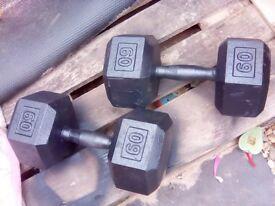 dumbbells weights set 2 x 60 lbs