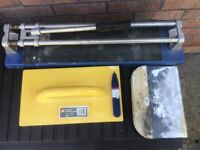 Floor tile cutter and small cutter + plasterers floats