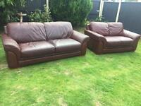 3&2 seater brown leather sofas can deliver