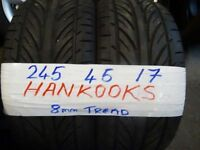 MATCHING PAIR 245 45 17 HANKOOKS TREAD AS NEW 7MM£70 PAIR SUPP & FITD (loads more av} TXT S