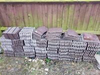 Brown concrete roof tiles - brand new