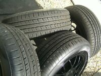 SET 4,NEW 195/65/15 MATCHING TYRES,DATED 2019,0N 5 STUD,5 X 100/112/114.3 MULTI FIT ALLOYS