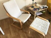 IKEA POÄNG Oak veneer/finnsta white armchair with footstool