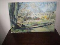 Original oil painting cottages Peak District, signed, oil on canvas, inscription 46x39cm