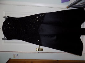 BALL GOWN Black with gold sequin detail on bodice FREE MASK