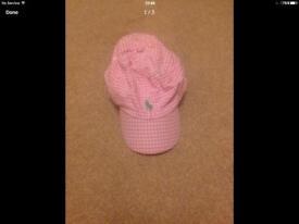 Ralph Lauren girls pink gingham cap/hat age 7-14 years