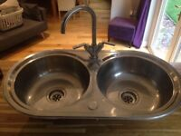 Franke double bowl sink with tap
