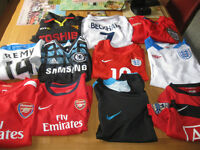 Assorted football shirts- excellent condition reduced to £20.