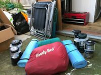 Camping Chairs Beds mats lights and sleeping bags