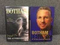 Ian Botham Cricket Books x 2 Head On autobiography and Botham's Century - Hand SIGNED sport - SDHC