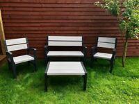 Keter plastic furniture garden seats bench table
