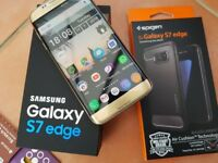 Samsung Galaxy S7 edge SM-G935F - 32GB - Gold Platinum (Unlocked) Smartphone Like New with cases
