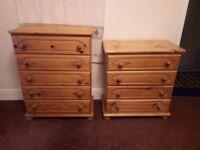 Two sets of pine bun feet drawers, 5 & 4 set