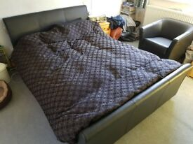 Kingsize Leather look sleigh bed in Black
