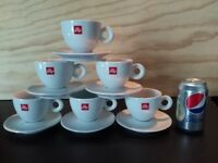 6 Illy Cappuccino Cups white 5oz porcelaine with saucer