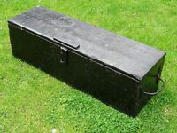 old long wooden dovetailed chest with hand forged handles and hinges - tool box