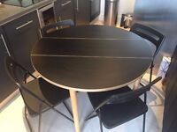 Black Folding Round Dining Table with 4 foldable chairs