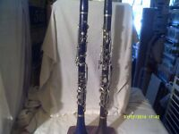 2 WOODEN ALBERT SYSTEM CLARINETS , BOOSEY & Co and MAHILLON , ENGLISH & FRENCH .+