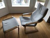POÄNG Ikea Armchair with footstool,