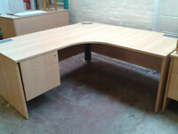 L shaped office desk with fitted pedestal