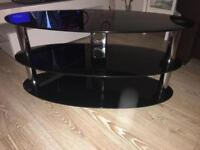 3 Tier oval black glass television stand £25