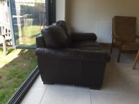 2 seater DFS brown leather sofa VGC