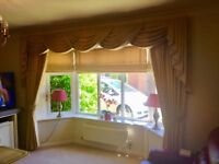 Curtains and Roman Blinds for bay window, luxury gold colour with cream design