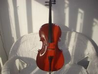1/2 size Cello .very well made , Looks like a quality Maple back ,spruce front ,ebony pegs .