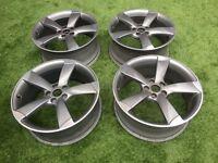 "4x OEM Audi 19"" Rotor Alloy Wheels; 2x 8.5Jx19 ET53; 2x 8Jx19 ET50"
