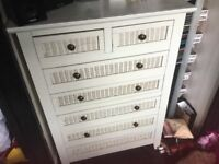 Solid wood chest of drawers and matching bedside chest