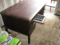 VINTAGE SOLID DESK. 'ABBESS' LEATHER TOPPED. 5 DRAWERS & 2 WRITING SHELVES. DELIVERY POSSIBLE