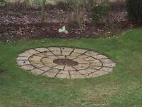 Stone circle. Light colour. Perfect for a patio or round a tree. Cleans up well.