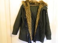 Ladies Coat Topshop Green Khaki 10