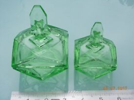 Vintage Green Glass Art Decco Dressing Table Dishes