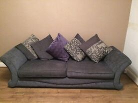 DFS 3 seater sofa with memory foam cushions in grey
