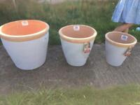 Set of terracotta garden plant pots x 3