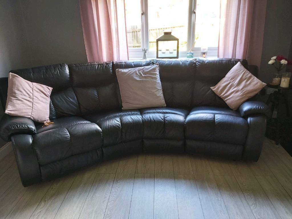Leather curved sofa. | in Top Valley, Nottinghamshire | Gumtree