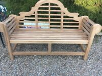 Three Seater Solid Teak Garden Bench (Very Good Condition)