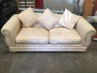 3 Seater Sofa Bed Bed Settee 4ft Bed Cream Soft Seating Fiber Filled Throw Cushions £250